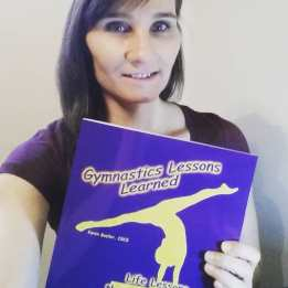 Karen with Gymnastics Lessons Learned Book.